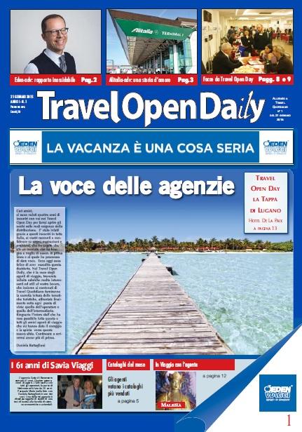 Prima copertina Travel Open Daily 21 gennaio 2015
