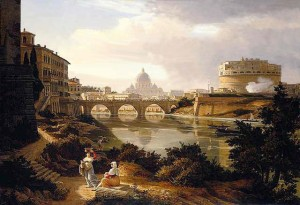 Rome,_a_view_of_the_river_Tiber_looking_south_with_the_Castel_Sant'Angelo_and_Saint_Peter's_Basilica_beyond_by_Rudolf_Wiegmann_1834
