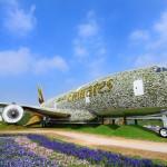 L'A380 di Emirates coperto di fiori al Dubai Miracle Garden