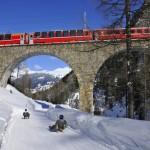 Il Trenino Rosso del Bernina va a braccetto con la discesa in slitta
