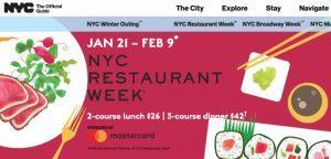NYC Restaurant Week: dal 21 gennaio al 9 febbraio l'edizione invernale