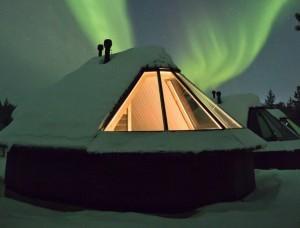 Norama in Lapponia per l'aurora boreale