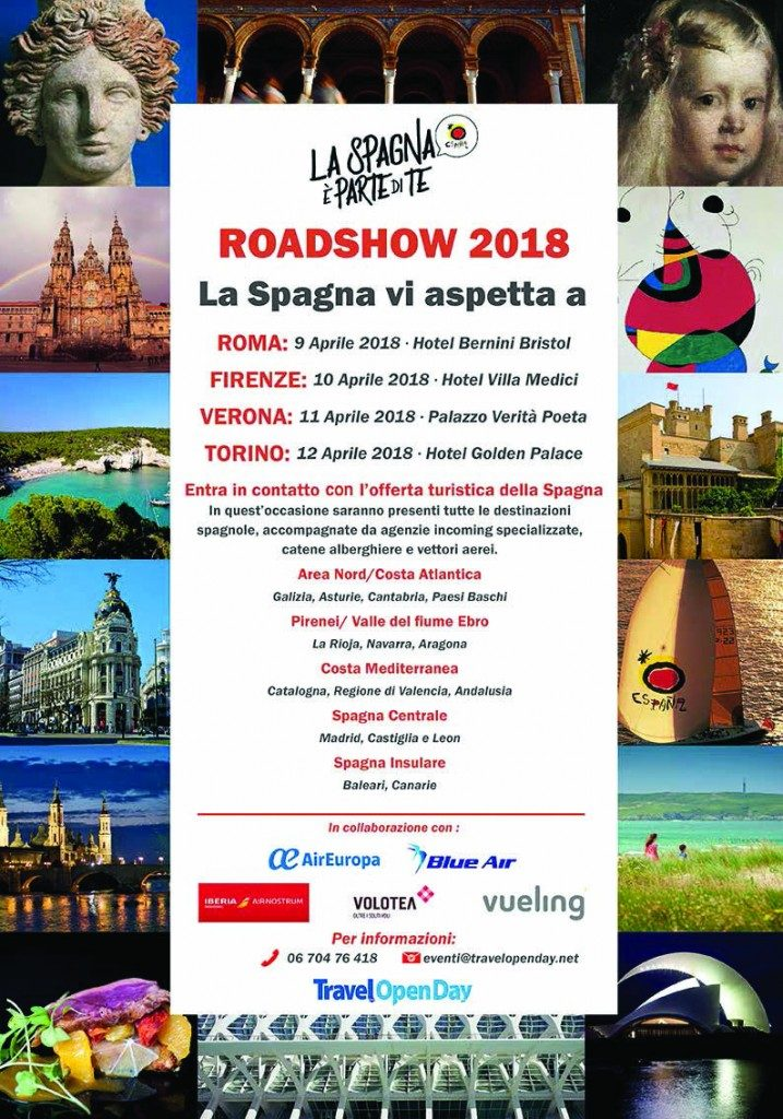Roadshow Spagna, le date: Roma 9 aprile, Firenze 10, Verona 11 e Torino 12 aprile