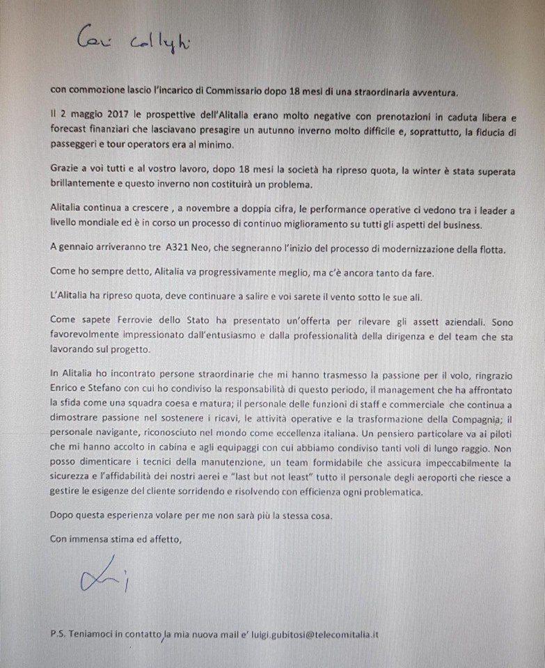 Lettera d'addio di Gubitosi: «Alitalia ha ripreso quota»