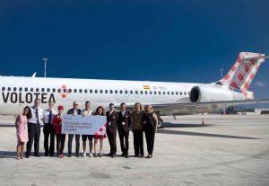 Volotea, un anno di voli gratis per il passeggero numero 2 milioni