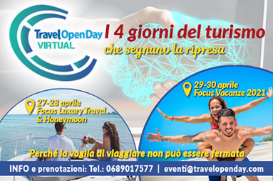 Travel Open Day Virtual dal 27 al 30 aprile: Luxury Travel, Honeymoon, Vacanze