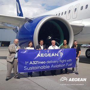 Aegean accoglie in flotta il quarto A321neo: primo volo con carburante sostenibile